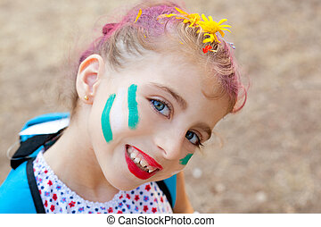 blue eyes  children girl  pinted face makeup
