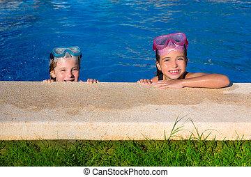 Blue eyes children girls on on blue pool poolside smiling