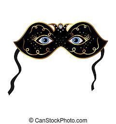Blue eyes hidden under theatrical mask - Illustration blue...