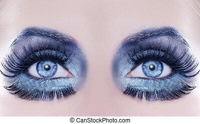 Blue eyes macro closeup fantasy fashion makeup