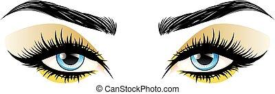 Blue eyes make up - Fashion female blue eyes with decorative...