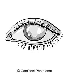 Blue eyes of a man who suffers from diabetes. Brilliant eyes from high blood sugar. Diabetes single icon in monochrome style vector symbol stock illustration.