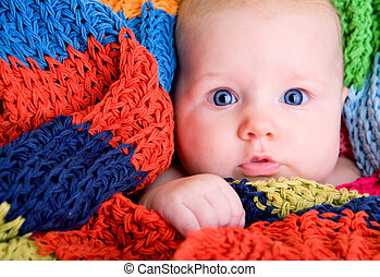 Blue Eyes - Portrait of three month old baby girl with big ...