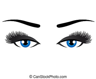blue eyes with long eyelashes on white background