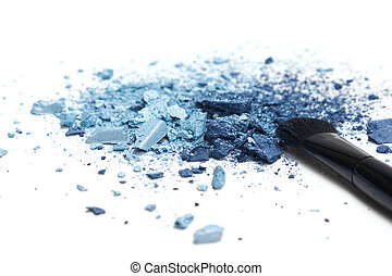 Blue eyeshadow different shades with makeup brush