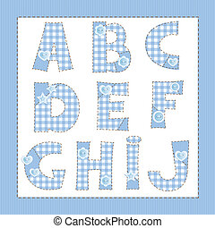 Blue fabric alphabet. Letters A, B, C, D, E, F, G, H, I, J