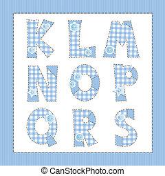 Blue fabric alphabet. Letters K, L, M, N, O, P, Q, R, S