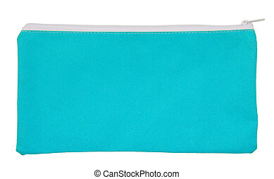 Blue fabric bag isolated on white with clipping path