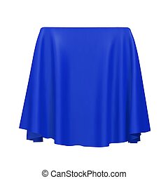 Blue fabric covering a cube or rectangular shape, isolated on white background. Can be used as a stand for product display, draped table. Vector illustraion