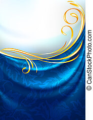 Blue fabric curtain with ornament, background, Eps10