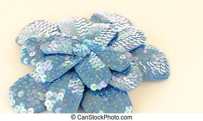 Blue fabric flower