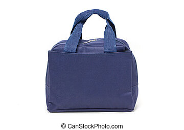 Blue fabric handbag isolated on white.