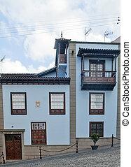 Blue facade house