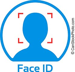 blue face id simple icon