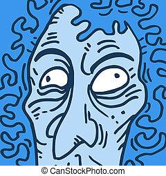 Blue face man