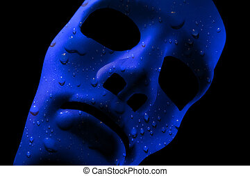 Blue face mask with water drops texture