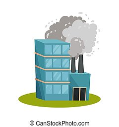 Blue factory with a chimney. Vector illustration on a white background.