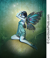 Blue Fairy, 3d CG - 3d computer graphics of a blue fairy...