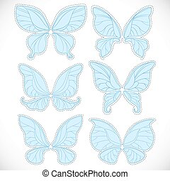 Blue fairy wings different form with dotted outlines for cutting set isolated on a white background