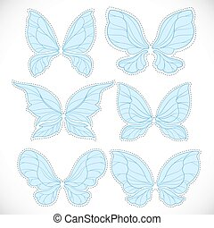 Blue fairy wings with dotted outline for cutting set 1 isolated on a white background