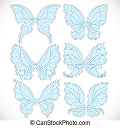 Blue fairy wings with dotted outline for cutting set 2 isolated on a white background
