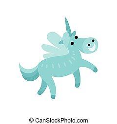 Blue fairytale unicorn with a rainbow mane cartoon vector Illustration