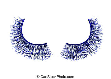 Blue false eyelash isolated on white background