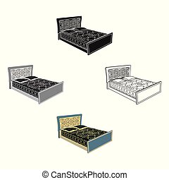Blue family bed. Bed with black painted covers and pillows. Bed single icon in cartoon, black style vector symbol stock illustration.