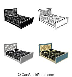 Blue family bed. Bed with black painted covers and pillows. Bed single icon in cartoon style vector symbol stock illustration.