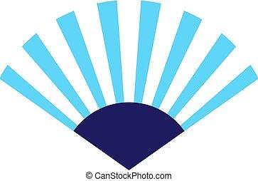 Blue fan flat illustration on white