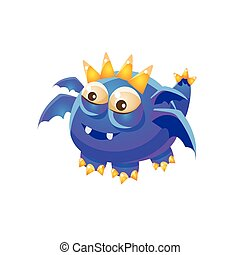 Blue Fantastic Friendly Pet Dragon With Four Wings Fantasy Imaginary Monster Collection