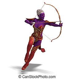 Blue Fantasy Elf shooting an arrow