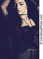blue fantasy - fantasy woman in blue studio shot