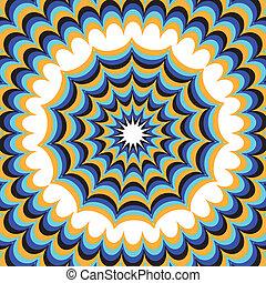 Blue Fantasy (motion illusion) - Floral patterns move toward...