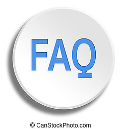 Blue FAQ in round white button with shadow