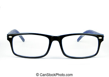 blue fashion glasses on white background
