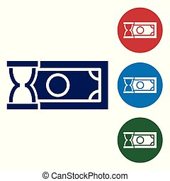 Blue Fast payments icon on white background. Fast money transfer payment. Financial services, fast loan, time is money, cash back concept. Set color icon in circle buttons. Vector Illustration