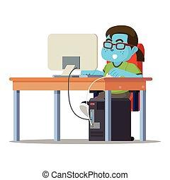 Blue fat nerd playing computer