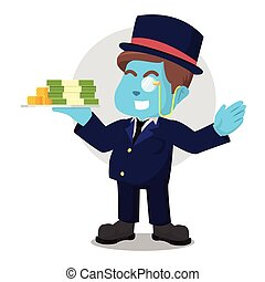 Blue fat richman holding stack of money
