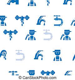 Blue Faucet / Tap seamless pattern - Blue Faucet / Tap...