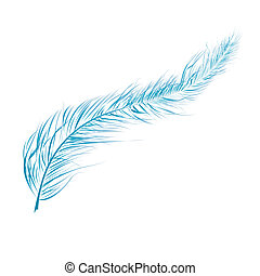 Blue feather - detailed illustration isolated on white