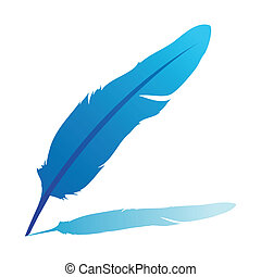 Blue feather - vector illustration isolated on white