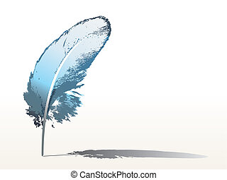 blue feather - isolated detailed blue feather - vector