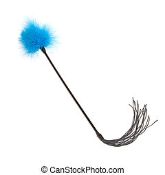 Blue Feathered fetish whip isolated on white background