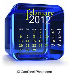 Blue February Calendar - Blue glass calendar. Part of a...