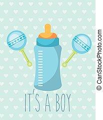 blue feeding bottle rattles toy its a boy card