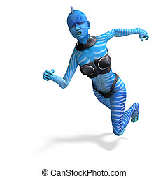 blue female alien running. 3D rendering with clipping path...