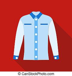 Blue female blouse icon, flat style