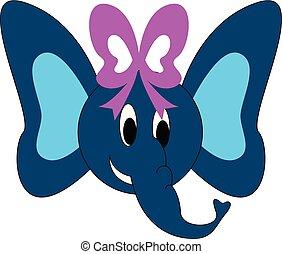 Blue female elephant