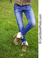 Blue female jeans